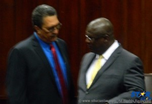 Prime Minister Kenny Anthony (l) and Opposition Leader Stephenson King at House of Assembly.