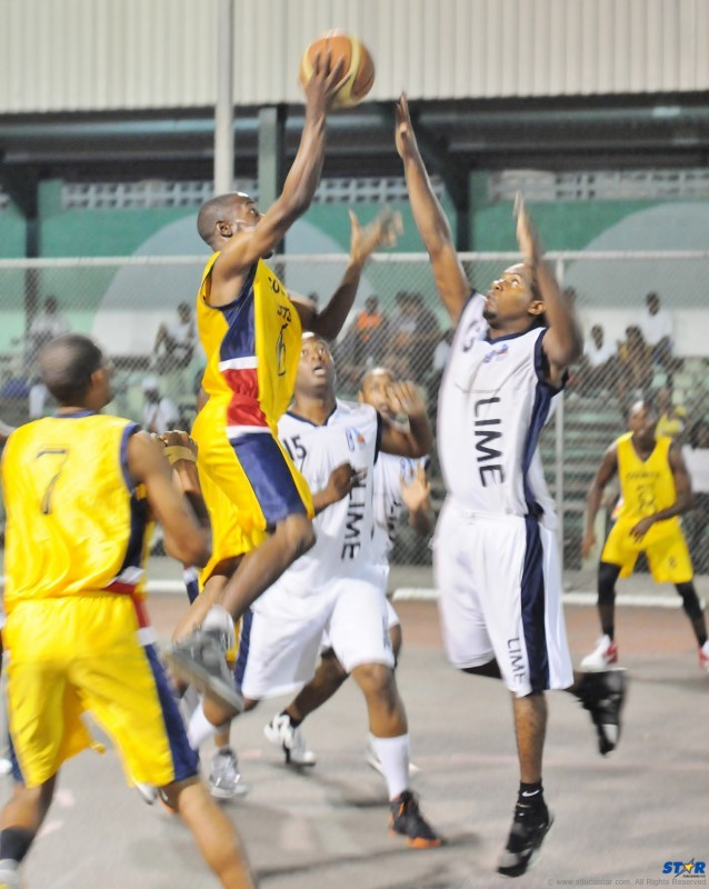 Courts Jets (dark uniform) and VBCC Warlords face off in the best-of-three Premier League National Men's Basketball Final.