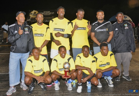 Guinness Street Challenge Small Goals champions Platinum FC with officials following their victory Sunday evening.