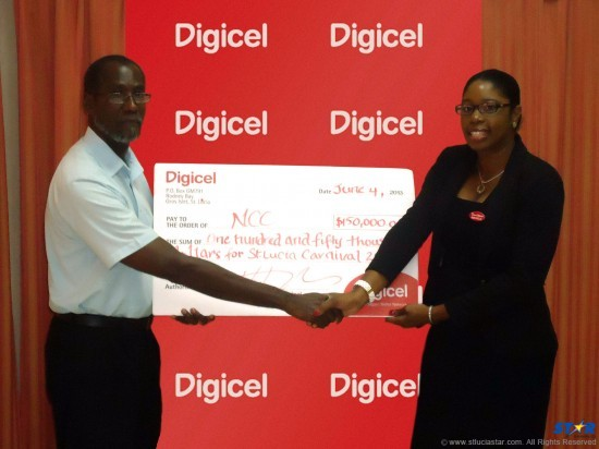 Digicel's Kerchelle Jn Charles makes presentation to John Joseph, Chairman of the Select Committee of Stakeholders.