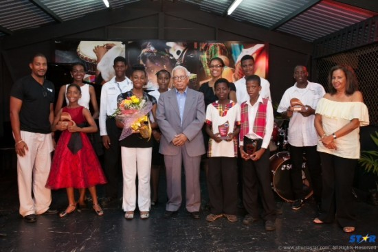 2013 School of Music award recipients with St Lucian musical icon Charles Cadet (C).