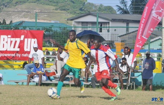 Action from Sunday's game between Desruisseaux (l) and Dennery.