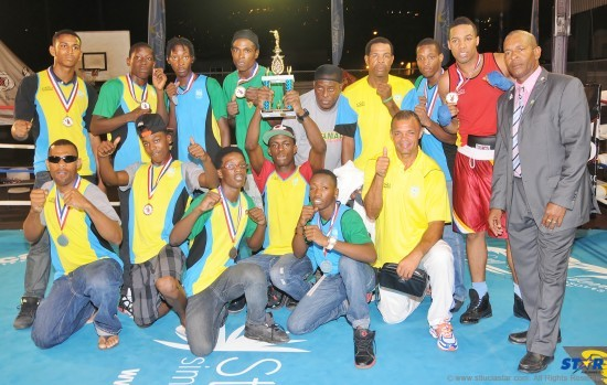 The victorious St Lucia team and officials after winning the Creole Boxing Championship.