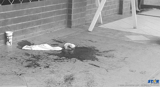 The 2009 crime scene at a shopping mall where a man viciously attacked his estranged girlfriend in full view.