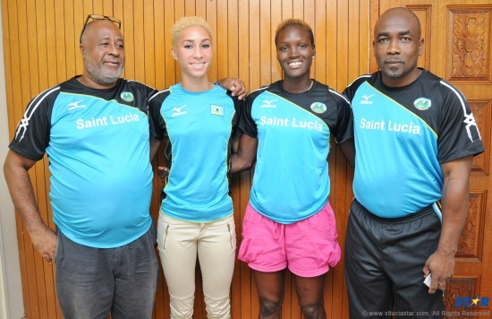 From left to right: Team Leader/Coach Henry Bailey, Jeannelle Scheper, Makeba Alcide and St Lucia Olympic Committee General Secretary, Alfred Emmanuel.