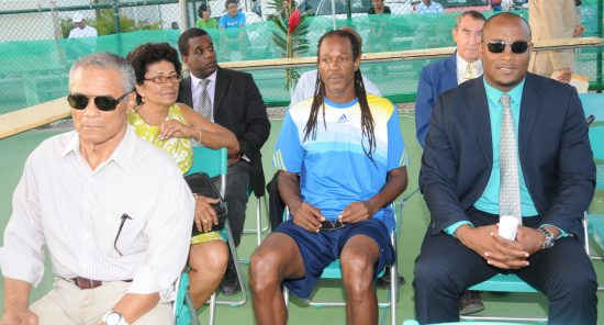 From left to right: Star Publisher Rick Wayne; Tennis Coach/Player, Vernon Lewis; Minister for Youth, Development, and Sports, Shawn Edward and other invited guests  at the ITF Junior Coca-Cola Tennis Tournament opening ceremony.