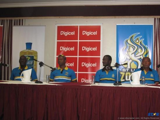 From left: Antigua Hawksbills coach Sir Vivian Richards, captain Marlon Samuels, St Lucia Zouks captain Darren Sammy and coach Andy Roberts.