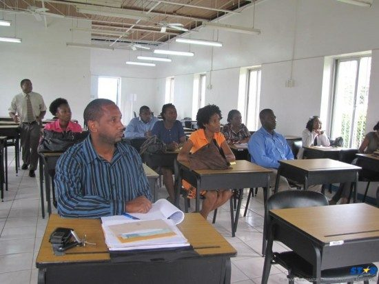 Media workers in Saint Lucia (president Clinton Reynolds in forefront) at a recent training session.