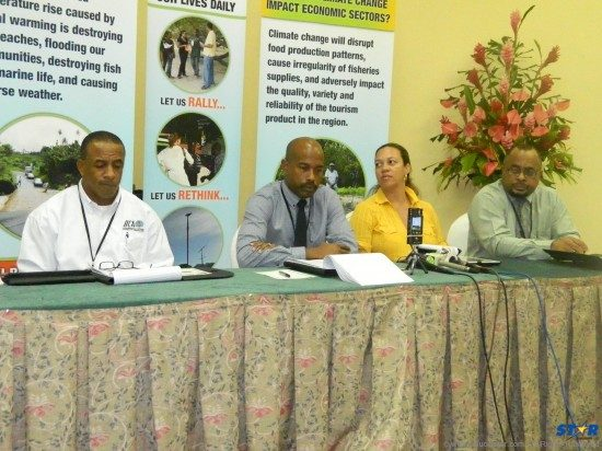 Members of the head table at the close of this week's OECS Climate Change seminar fielding questions from participants and the media.