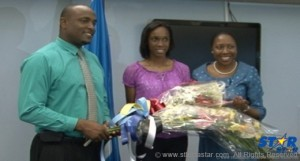 Sports Minister Shawn Edward Saint Lucian High Jumper Levern Spencer and Health Minister Alvina Reynolds