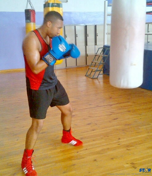 Heavyweight Ryan Charles at the boxing camp in Kazakhstan.