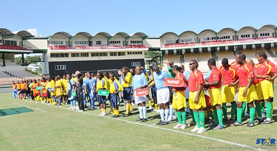A glimpse of the official opening of last year's Veterans Football Tournament at the Beausejour Cricket Ground.