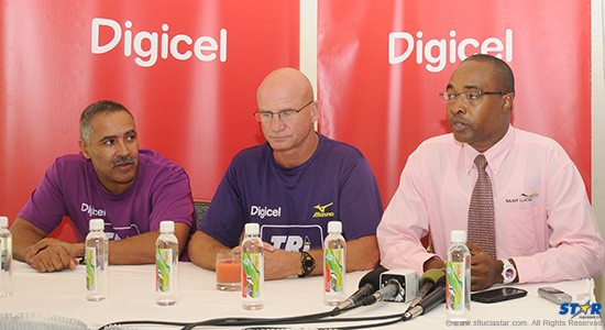 """From left to right the head table at Wednesday's """"Tri St Lucia"""" press conference. Double Gold medallist in the decathlon Daley Thompson; Event Director, John Lund and Public Relations Manager at the St Lucia Tourist Board, John Emmanuel."""