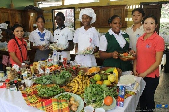 "Saint Lucia's future executive chefs at ""The Healthy and Sustainable Contest""."