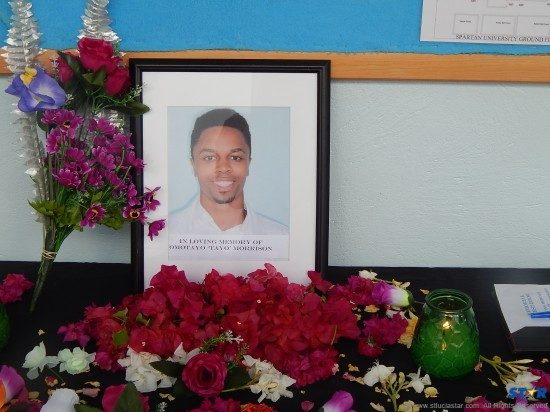 A memorial for Tayo at the Spartan  Medical Institute.