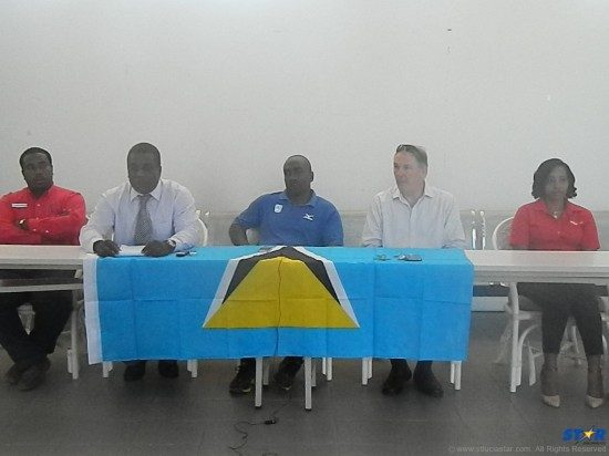(l—r) Dave Charlemagne of Goddard Catering, Ricardo Bowe manager National Tennis Center, Alfred Emmanuel SLOC General Secretary, Ross Stevenson GM Cap Maison and Fiona Smith Digicel Marketing Department.