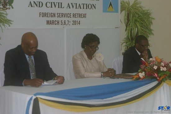 Governor General Dame Pearlette Louisy flanked (l-r) by Permanent Secretary Hubert Emmanuel and Foreign Affairs Minister  Alva Baptiste: Section 64 notwithstanding, the GG continues, by her own account, to be kept in the dark on foreign policy matters.