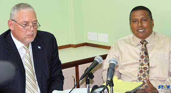 Leader of the UWP Allen Chastanet and Castries South East MP Guy Joseph addressing the media Monday.