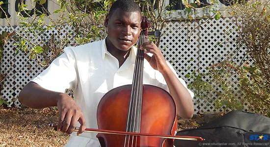 Ronnley Gordon with his cello: The instrument is quite possibly the best thing  that has happened to him.