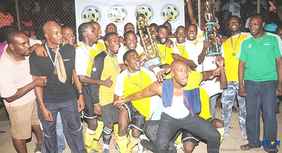 The victorious Vieux North Arsenal team with Heineken (sponsor) Brand Manager Gaius Harry pictured on the extreme right.