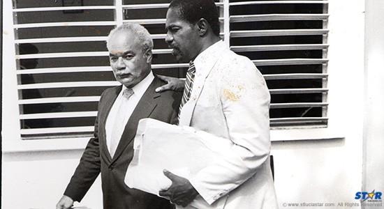 "Former DPP Dale Hamilton (nearest camera) with Keneth Monplaisir QC: A long time ago Hamilton defined ""gang"" before a Saint Lucia court!  (Circa 1990)"