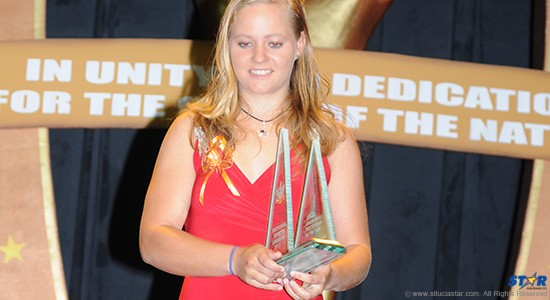 Stephanie Devaux-Lovell at the recent national sports award where she won Junior Yachtswoman of the Year for 2013.