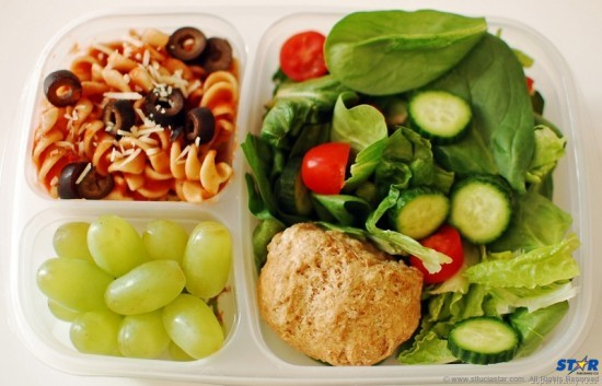 "A healthy lunch: Do kids benefit from having a balanced meal with plenty of fresh fruits and vegetables and sensible ""good"" carbohydrates? Michelle Obama in the USA and Jamie Oliver in the UK have led winning campaigns highlighting the importance of healthy eating for kids at school and at home."