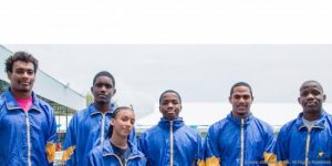 St Lucia's team at the Caribbean International Swimming Championships.