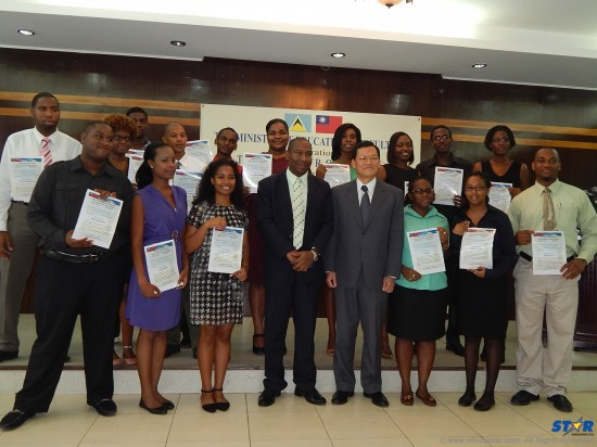 Taiwanese scholarship recipients with the education minister and Taiwanese ambassador.