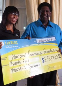 Cheque presentation by LUCELEC to NCF Telethon.