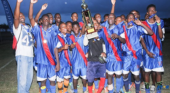 The Mon Repos team after winning the St Lucia Football Association Royal Club Under-21 Championship.