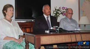 Helen Gobat, Peter Foster and Theo Gobat at a press conference on Wednesday where they announced their efforts to bring the perpertrators to justice.