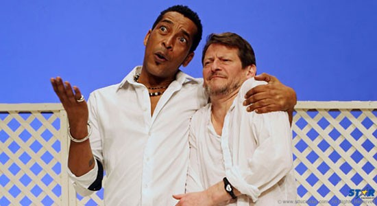 Wendell Manwarren and David Tarkenter in a scene from Pantomime at the Lakeside Theatre in 2012.