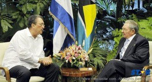 Saint Lucia Prime Minister, Hon. Dr. Kenny D. Anthony, with Cuban President, Raul Castro.