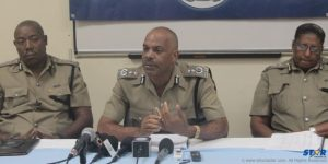 ACP Alexander, Police Commissioner Vernon Francois, acting Deputy  Commissioner Frances Henry at Press Conference on Crime Stats Wednesday.