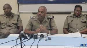Police Commissioner Vernon Francois along with ACP Errol Alexander and acting deputy commissioner Frances Henry at recent press conference.