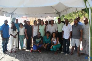 Sponsors and Organizers gathered on the beach at Anse Mamin in Soufriere on Saturday.