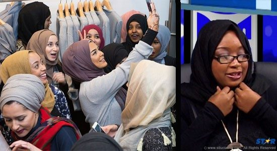 Women In Action's Laura Jn Pierre (right) caused quite a stir last Thursday when she appeared with Rick Wayne on TALK, as much for her comments on Saint Lucia's disturbing rape culture as for her garb. Meanwhile in London (left) so-called Islamic fashion is the latest thing among those who dress to impress!