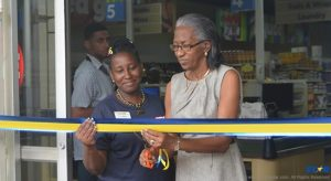 Ribbon cutting at La Clery by team member and Mrs Prudent long serving Educator in the community.