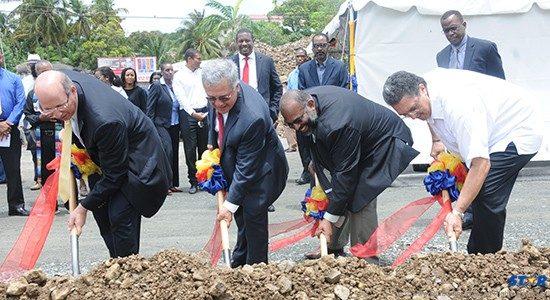 L-R: Mr Guillermo Siman,  Mr Mario Guerrero,  Mr Errol Le Blanc, Prime Minister Kenny Anthony.