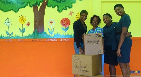 From left: First Citizens Regional Manager Carole Eleuthere-Jn Marie, Daycare supervisor Marina Duplessis, First Citizens' Nicole McDonald and Petra Phillip at the Cul De Sac Daycare Centre.