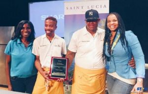 L-R: Alison Theodore, Regional Marketing Manager Saint Lucia Tourist Board Canada, Chef Ed Harris with winning plaque, Sous Chef Jamarius Banks and Arletta Walcott, Information Officer – Consulate General of Saint Lucia standing in for Consul General Michael Willius.
