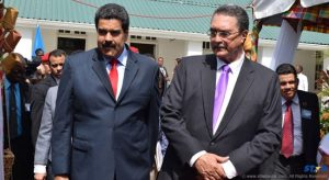 The President of Venezuela, Nicholas Maduro, with Saint Lucia's Prime Minister Dr. Kenny Anthony during last Saturday's visit.