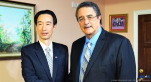 Prime Minister Hon. Dr. Kenny D. Anthony (right) with Ambassador H.E. Ray Mou.