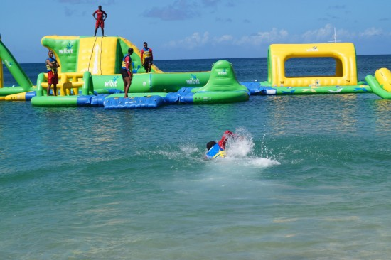 Action at Splash Island Water Park at Reduit.
