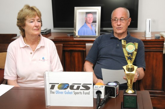 Helen and Theo Gobat at a press conference on Friday to launch The Oliver Gobat Sports Fund.