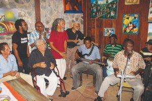 Walcott and friends enjoy some folk singing.