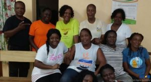 Timmy Francis (top left) poses with some of the ladies now taking his classes in self-defence and fitness.