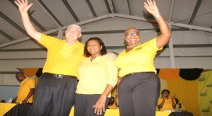 UWP Political Leader Allen Chastanet, Sarah Flood Beaubrun and Opposition Leader Gail Rigobert at Sunday's Convention,
