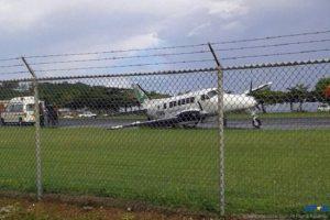 A BE99 Aircraft of Hummingbird Airlines crash landed at GFL Charles Airport Sunday.